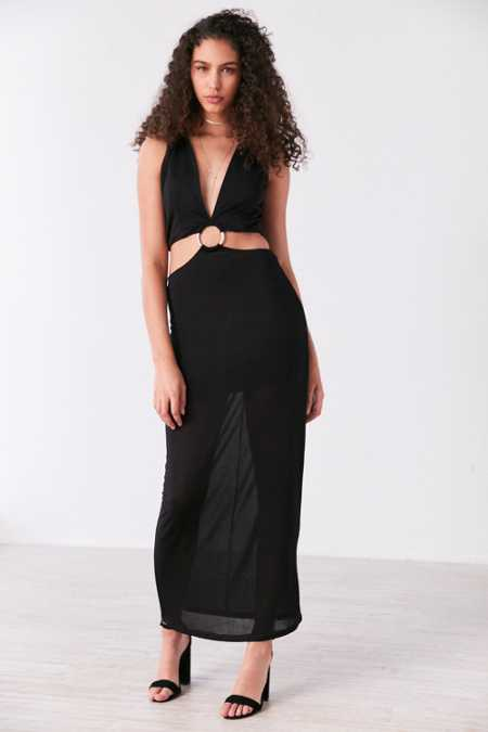 Finders Keepers Maxwell Plunging Cutout Maxi Dress