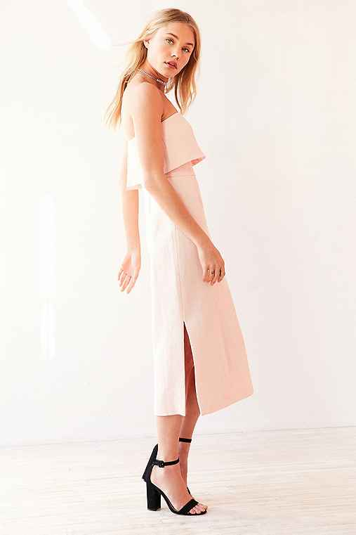 C/meo Collective Love Strapless Ruffle Midi Dress,ROSE,M