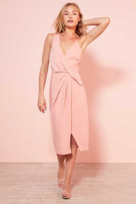 Keepsake Without You Asymmetric Surplice Midi Dress