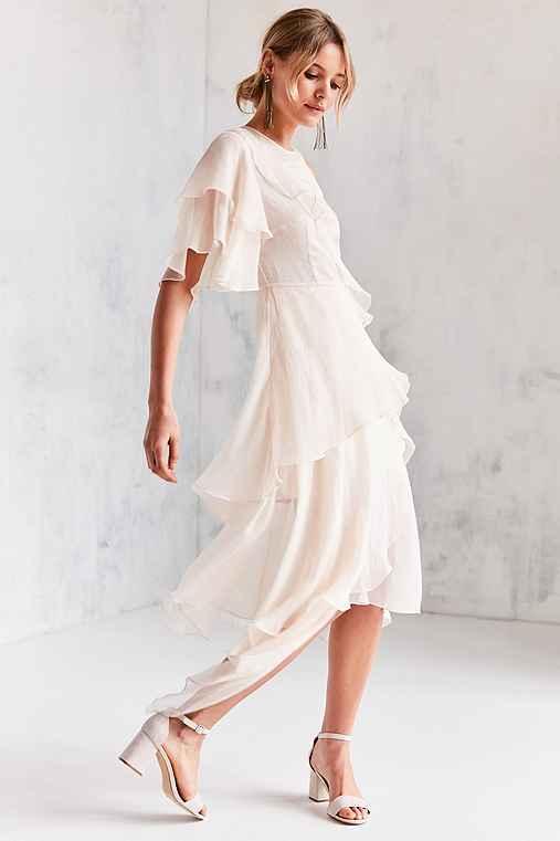 Keepsake Say You Will Ruffle Tier Midi Dress,IVORY,XS