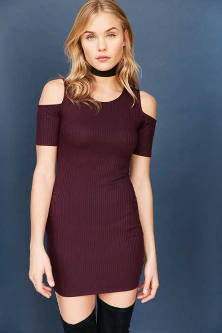 Silence + Noise Ribbed Cold-Shoulder Bodycon Mini Dress
