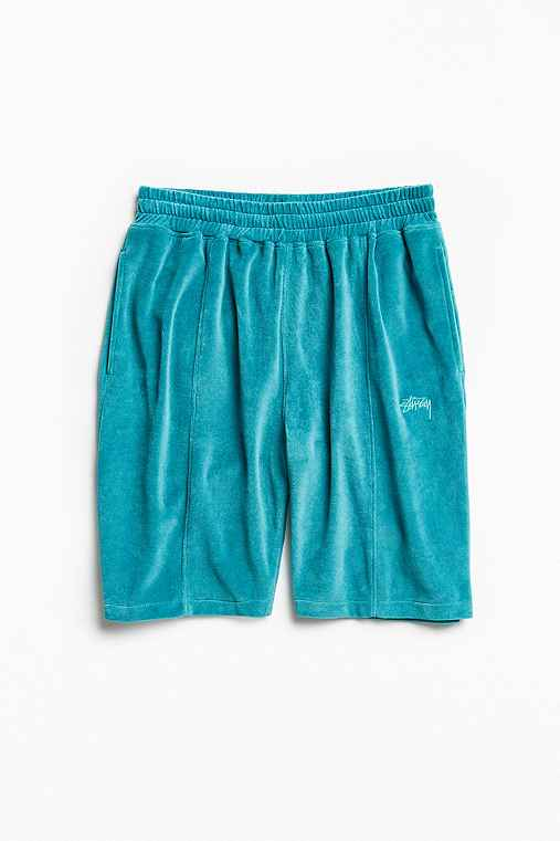 Stussy Piped Velour Short,TEAL,S