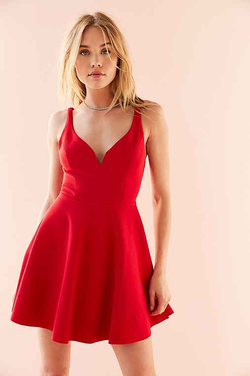 Kimchi Blue Heart Of The Ocean Mini Dress,RED,M