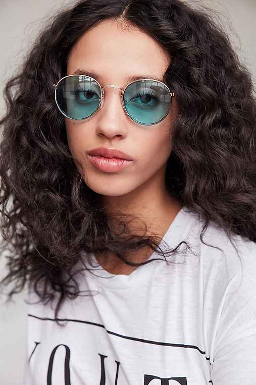 Daydream Metal Round Sunglasses,BLUE,ONE SIZE