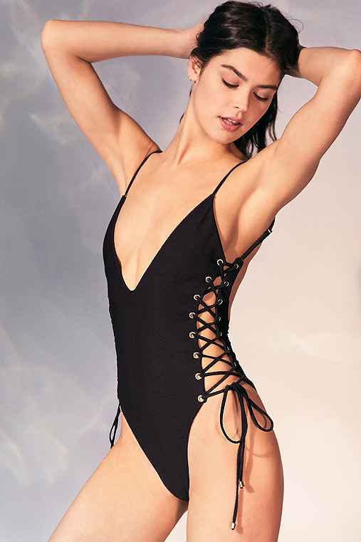 Blue Life Roped Up One-Piece Swimsuit,BLACK,M
