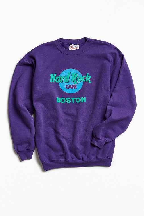 Vintage Hard Rock Cafe Boston Crew Neck Sweatshirt,PURPLE,L