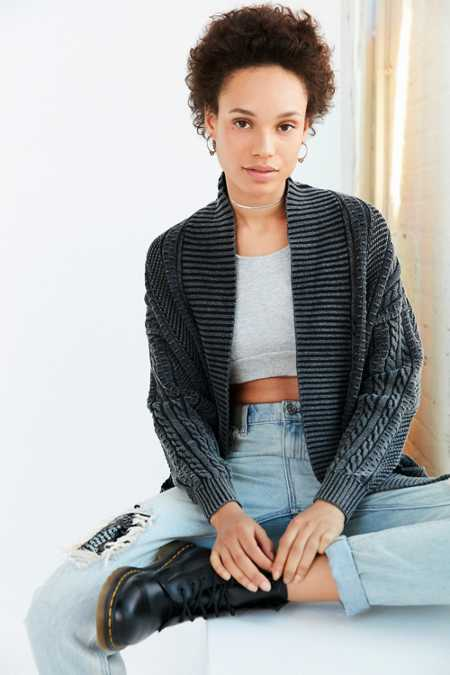 Ecote Acid Wash Cable Cardigan