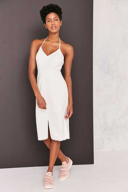 Ecote Frayed Linen Halter Bodycon Midi Dress
