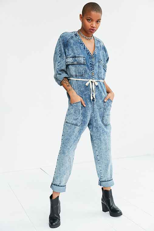 BDG Riveter Denim Coverall Jumpsuit,RINSED DENIM,S