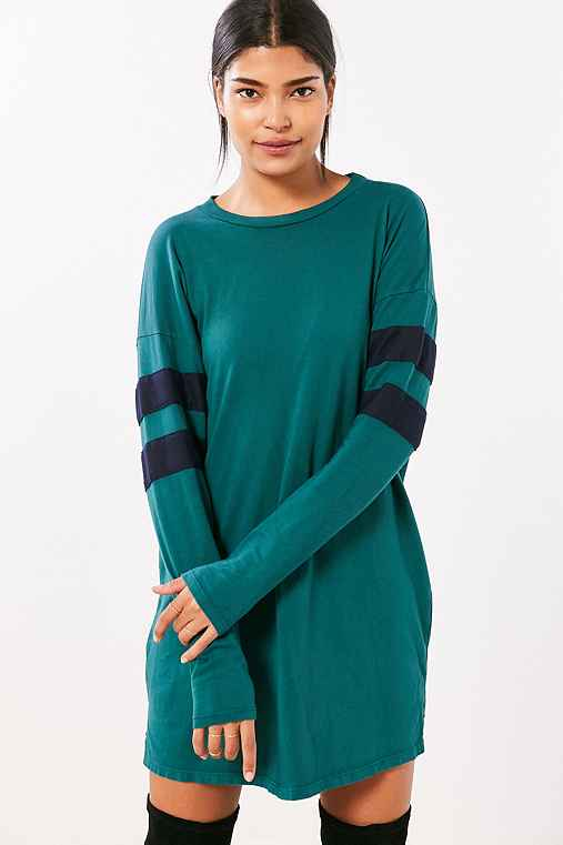 Truly Madly Deeply Oversized Varsity Stripe T-Shirt Dress,GREEN MULTI,S