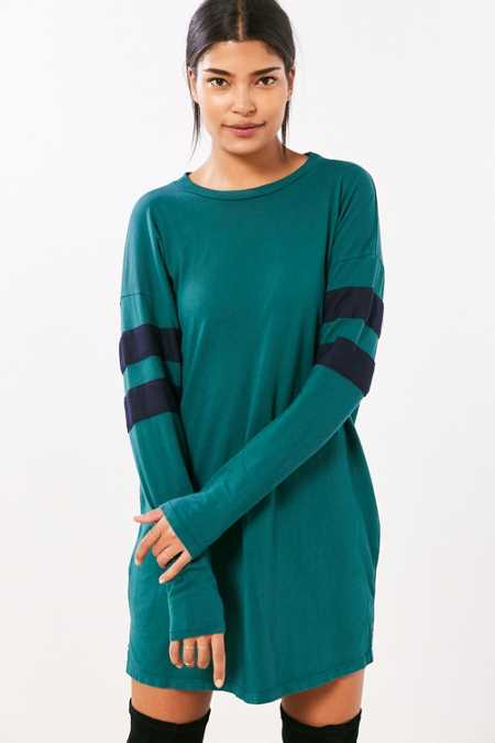 Truly Madly Deeply Oversized Varsity Stripe T-Shirt Dress