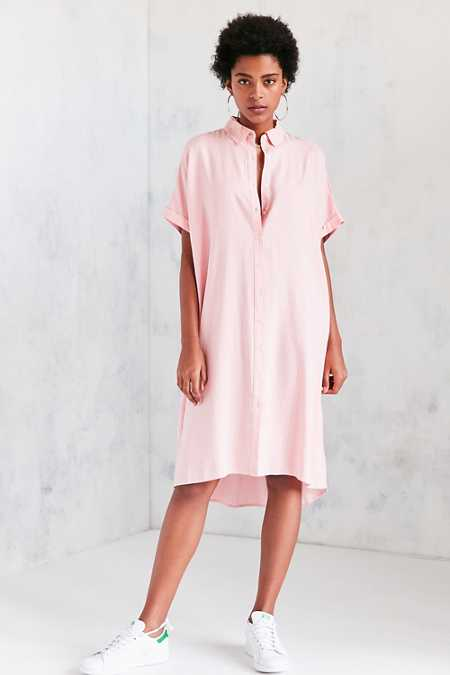 Silence + Noise Button-Down Cocoon Shirt Midi Dress