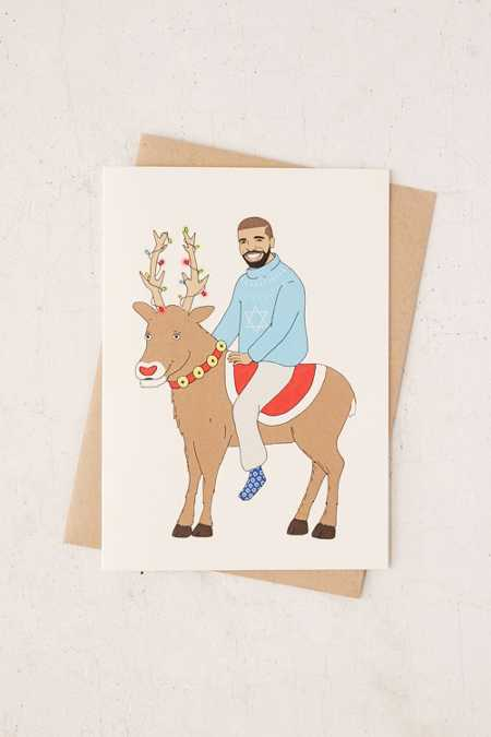 FINEASSLINES Drake On A Reindeer Holiday Card
