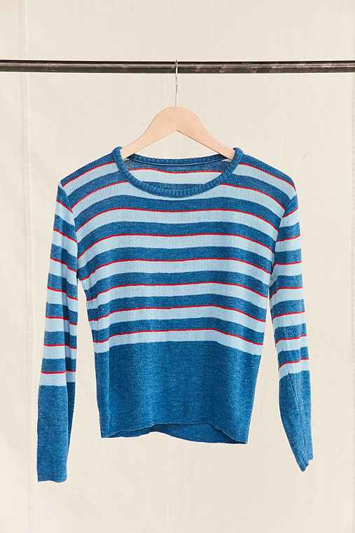 Vintage Blue/Red Striped Sweater,ASSORTED,ONE SIZE