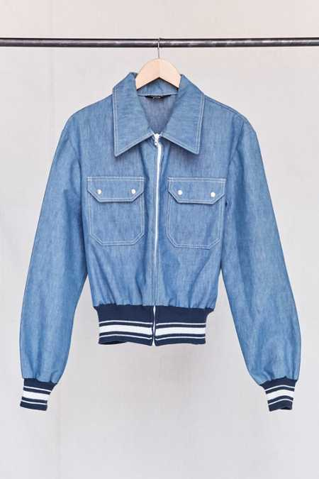Vintage Denim Sports Bomber Jacket