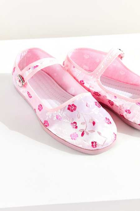 Satin Jacquard Mary Jane Flat