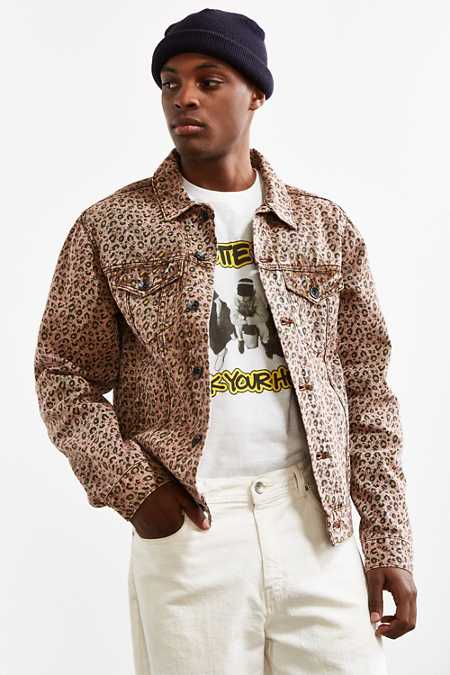 UO Cheetah Print Denim Trucker Jacket