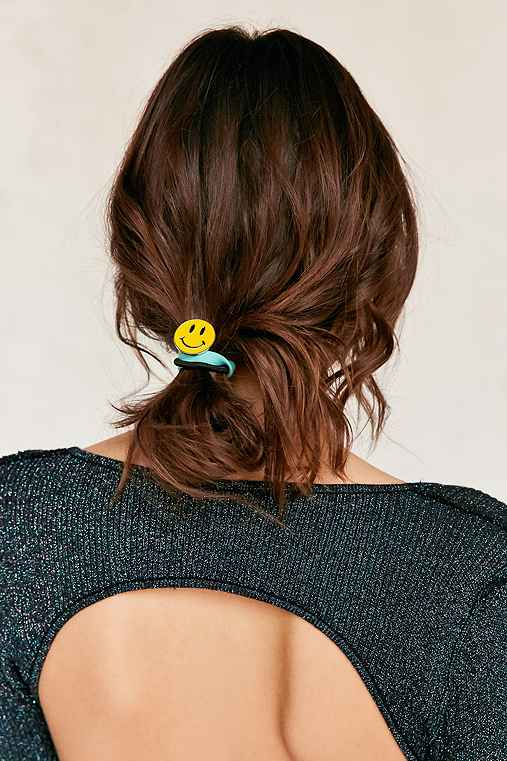 Enamel Pin Ponytail Holder Set,YELLOW,ONE SIZE