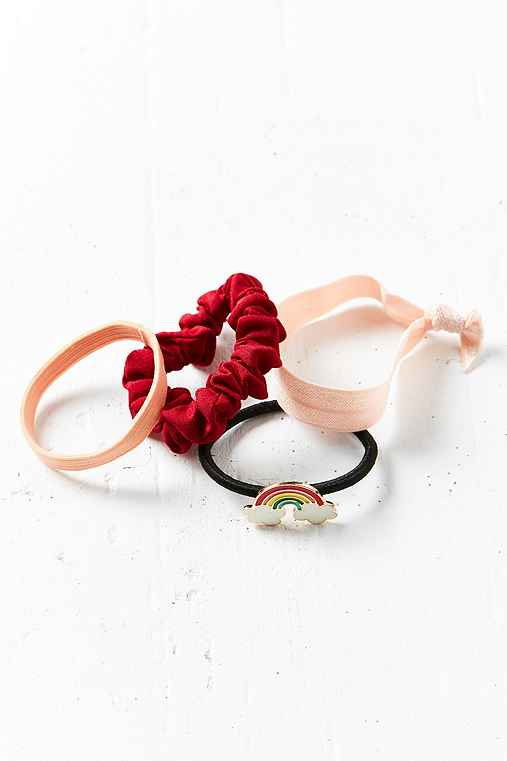 Enamel Pin Ponytail Holder Set,CRIMSON,ONE SIZE