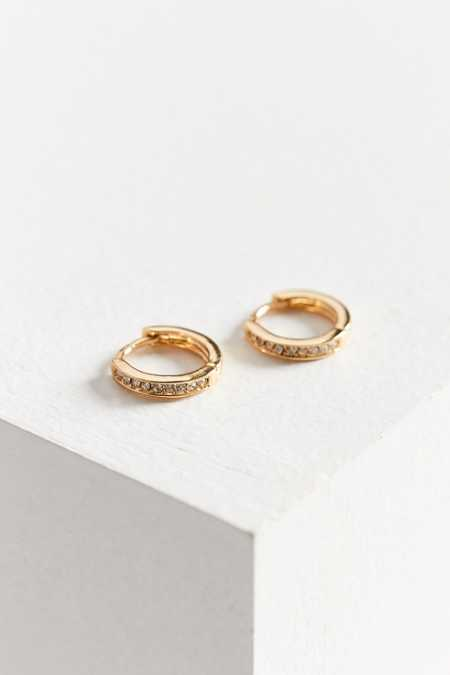 18k Gold Plated Rhinestone Hoop Earring