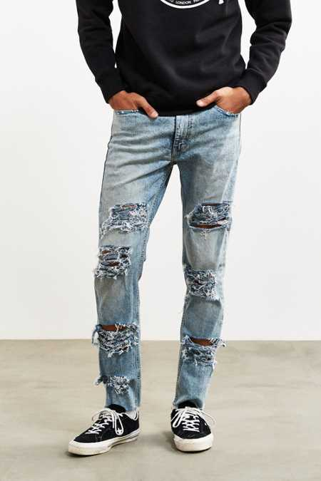 Shredded Levi's Light Bleach Wash 510 Skinny Jean