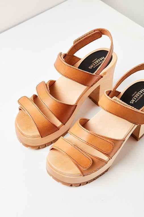 Swedish Hasbeens Velcra Heel,TAN,US 8/EU 38