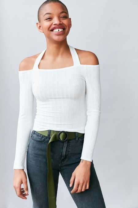 Silence + Noise Talia Off-The-Shoulder Halter Top