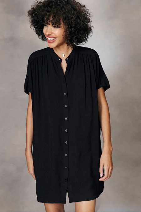 BDG Shirred Button-Down Shirt Mini Dress