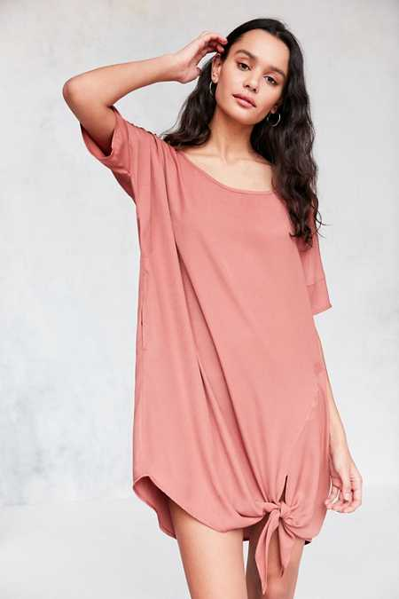 Silence + Noise Knotted Hem Dolman Tee Mini Dress
