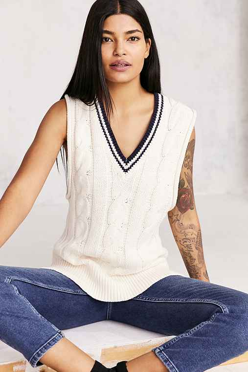 BDG Oversized Cable-Knit Sweater Vest,IVORY,M