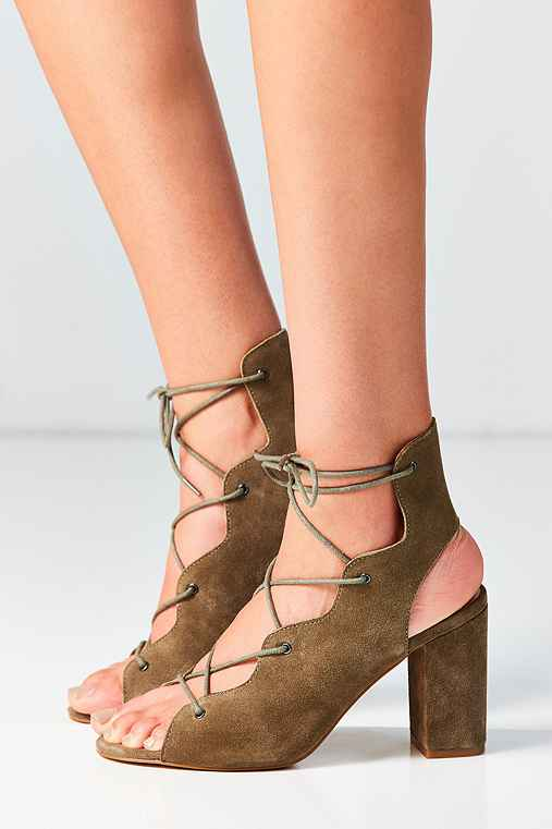 Urge Footwear Shine Lace-Up Heel,KHAKI,US 6/EU 36
