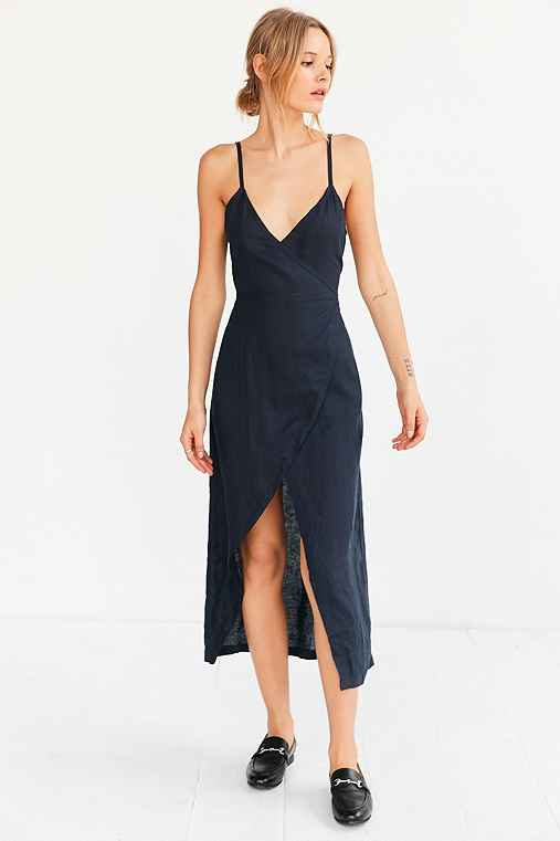 SIR The Label Gigi Midi Wrap Dress,NAVY,S