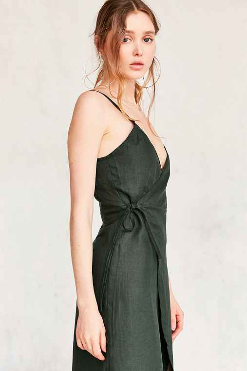 SIR The Label Gigi Midi Wrap Dress,OLIVE,L