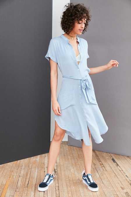 Ecote Gauze Band Collar Shirt Dress