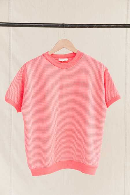 Vintage Pink Striped Short-Sleeved Sweatshirt