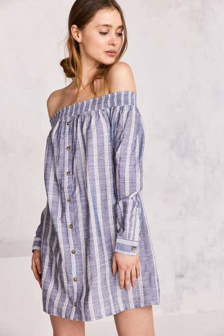 Cooperative Striped Off-The-Shoulder Button-Down Mini Dress
