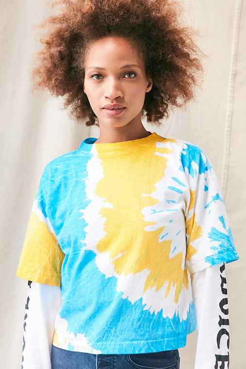 Vintage Tri-Color Tie-Dye Cropped Tee,YELLOW,L