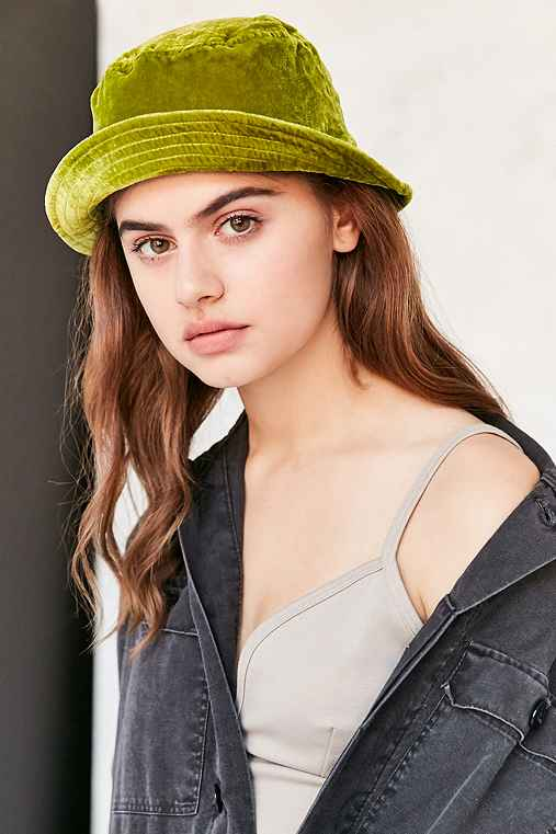 Velvet Bucket Hat,GREEN,ONE SIZE