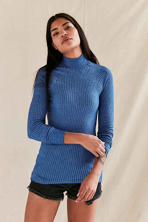 Vintage Blue Swedish Ribbed Tunic Top,BLUE,S/M