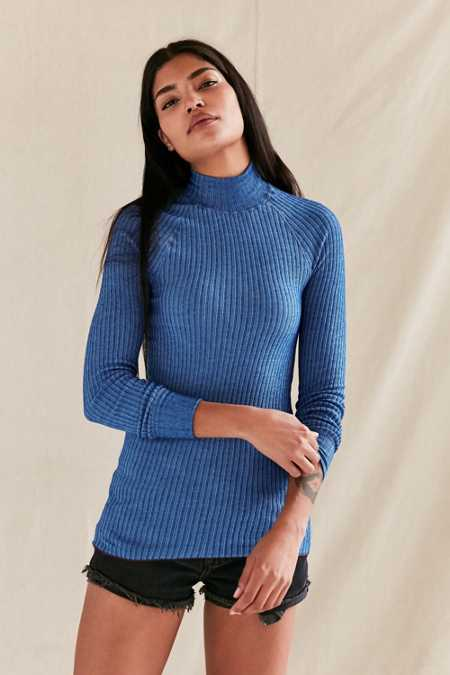 Vintage Blue Ribbed Tunic Top