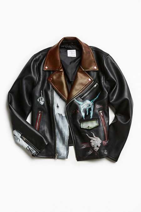 Custom Art Faux Leather Moto Jacket
