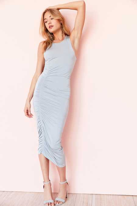 Silence + Noise Slinky Satin Cinch-Side Midi Dress