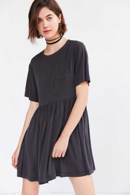 Silence + Noise Cupro Babydoll Mini Tee Dress
