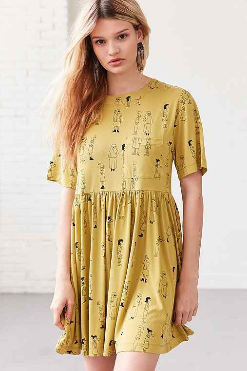 Silence + Noise Doodle Dee Babydoll Tee Mini Dress,CHARTREUSE,XL