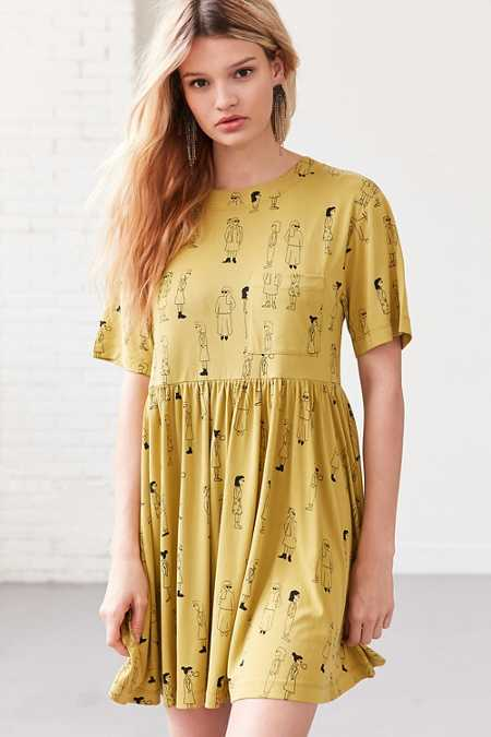 Silence + Noise Doodle Dee Babydoll Tee Mini Dress