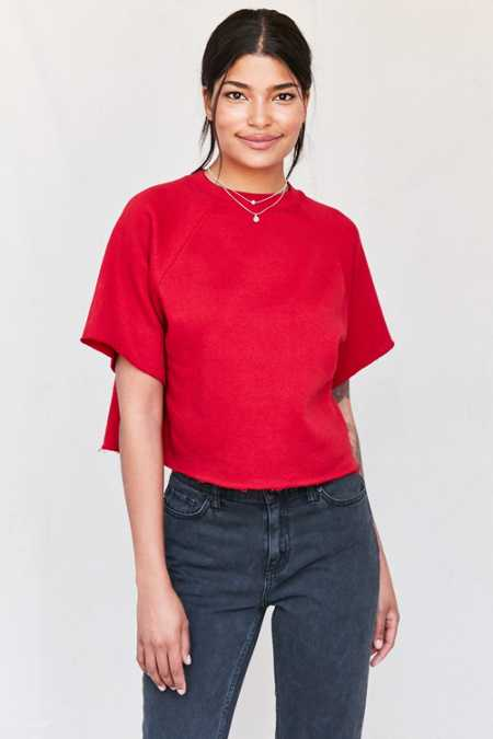 Urban Renewal Recycled Cropped Short-Sleeved Sweatshirt