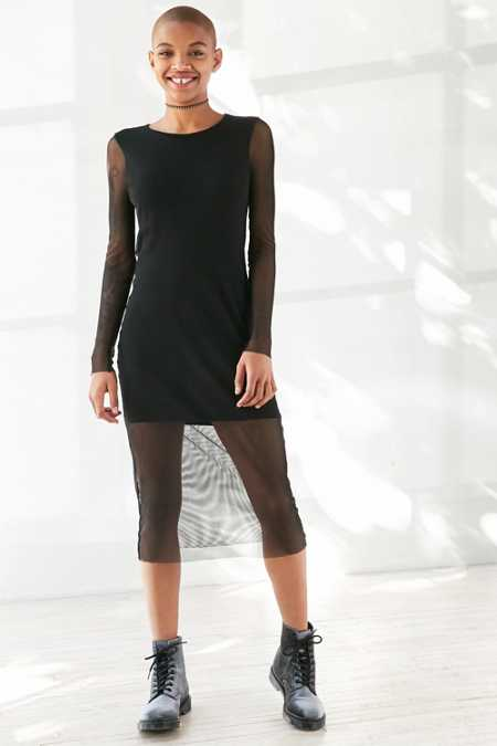 Silence + Noise Long-Sleeve Fishnet Midi Dress