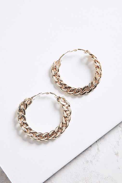 Statement Chain Hoop Earring,GOLD,ONE SIZE