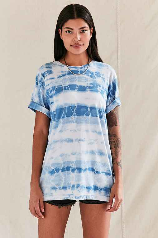 Urban Renewal Remade Lightning Bolt Tie-Dye Tee,BLUE,M/L