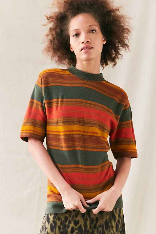 Vintage Striped Crew Neck Short-Sleeved Sweater,ASSORTED,ONE SIZE